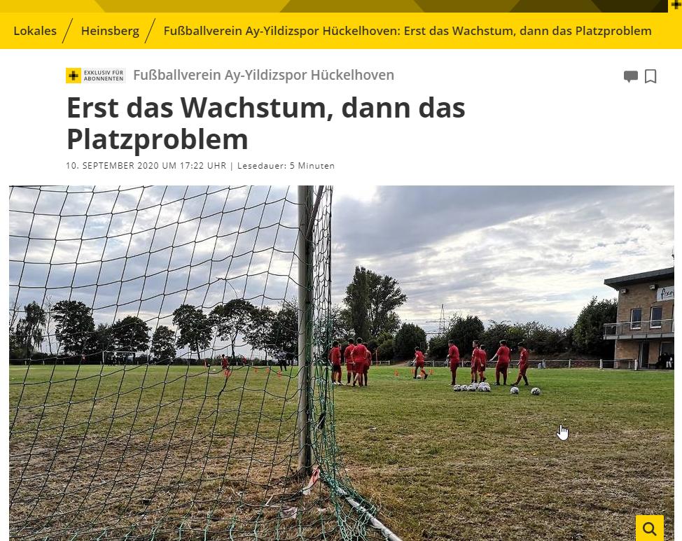 Aachener Nachrichten werden auf Probleme von AY-YILDIZSPOR aufmerksam.